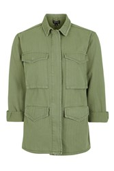Topshop Lightweight Shacket Khaki