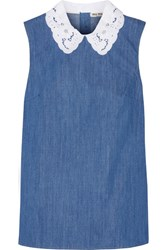 Miu Miu Broderie Anglaise Trimmed Cotton Chambray Top Mid Denim