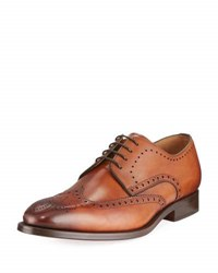 Magnanni Leather Brogue Wing Tip Oxford Brown