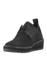 Eileen Fisher Wilson Lace Up Knit Wedge Shoe Black