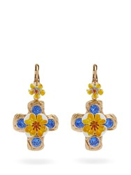 Dolce And Gabbana Flower Crystal Embellished Cross Earrings Yellow