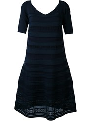 D.Exterior Embroidered Flared Dress Women Cotton Polyamide Polyester Viscose L Blue
