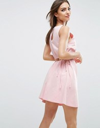 Asos Sweat Skater Dress With Open Back Baby Pink
