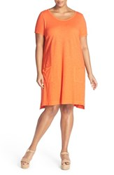 Plus Size Women's Eileen Fisher Hemp And Organic Cotton Scoop Neck Shift Dress