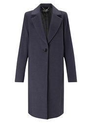 Four Seasons Cocoon Wool Blend Coat Blueberry