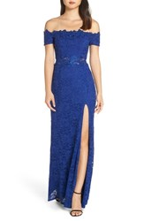 Sequin Hearts Off The Shoulder Illusion Gown Ry Royal
