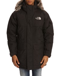 The North Face Black Flannel 550 Down Mc Murdo Parka With Hood And Removable Fur Edging