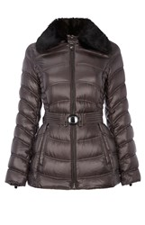 Dawn Levy Detachable Faux Fur Collar Jacket Grey
