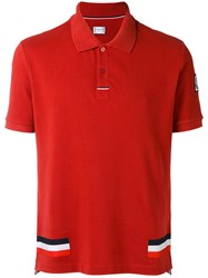 Moncler Gamme Bleu Tri Stripe Polo Shirt Men Cotton M Red