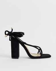2f31c9daf9e Public Desire Betty Black Ankle Tie Toe Loop Heeled Sandals