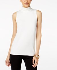 Alfani Sleeveless Ruched Turtleneck Top Only At Macy's Soft White