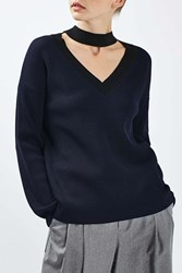 Boutique Contrast V Choker Neck Jumper By Navy