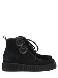 Kat Maconie 40Mm Suede And Shearling Lace Up Boots