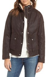 Barbour Women's Cushat Faux Shearling Trim Waxed Jacket