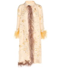 Prada Embellished Silk Coat With Feather Trim Neutrals
