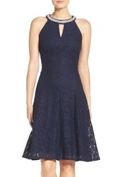 London Times Women's Beaded Lace Fit And Flare Dress