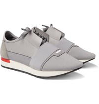 Balenciaga Race Runner Leather Suede And Neoprene Sneakers Gray