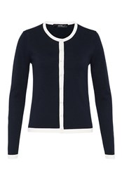 Hallhuber Cardigan With Contrast Panels Navy