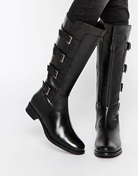 Ravel Multi Strap Knee High Leather Boots Black