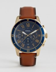 Fossil Fs5268 Grant Sport Chronograph Leather Watch In Tan Tan