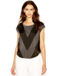Rachel Rachel Roy Short Sleeve Chevron Blouse