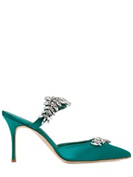 Manolo Blahnik 90Mm Lurum Swarovski Silk Satin Mules