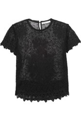 Chelsea Flower Scalloped Embroidered Tulle Cotton Top Black