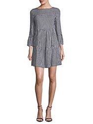 Beach Lunch Lounge Gingham Bell Sleeve Shift Dress Black Multi