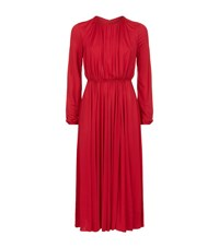 Valentino Ruched Midi Dress Female Red