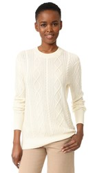Tse Cashmere Boyfriend Cable Crew Sweater White