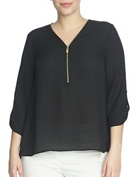 Chaus Roll Tab V Neck Zipper Blouse Black