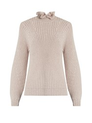 Rebecca Taylor Ruffle Neck Wool Blend Sweater Pink
