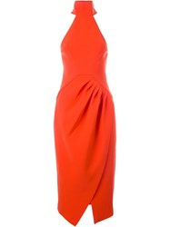 C Meo Turtle Neck Fitted Dress Red