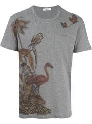 Valentino Animal Print T Shirt Grey