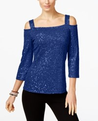 Inc International Concepts Sequin Cold Shoulder Top Only At Macy's Goddess Blue