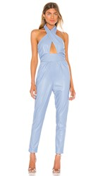 Kendall Kylie Wrap Front Jumpsuit In Baby Blue. Gaga Blue