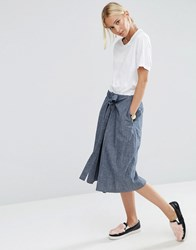 Asos Denim Tie Front A Line Skirt In Textured Fabric Blue