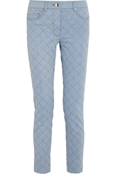 Moschino Quilted Mid Rise Straight Leg Jeans