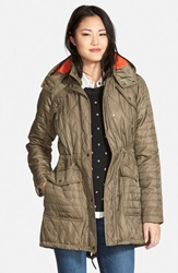 Vince Camuto Quilted Jacket With Detachable Contrast Lined Hood Pale Olive Tangerine