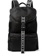 Givenchy Logo Jacquard And Leather Trimmed Nylon Backpack Black