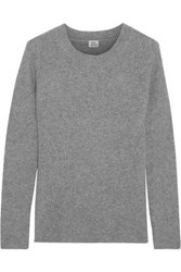 Iris And Ink Scarlett Ribbed Knit Cashmere Sweater Gray