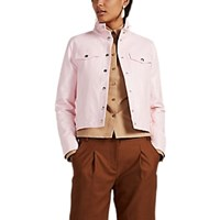 Lisa Perry Snazzy Coated Cotton Blend Vinyl Trucker Jacket Pink