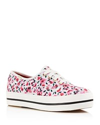 Kate Spade New York Triple Kick Rose Garden Platform Sneakers Pink Rose