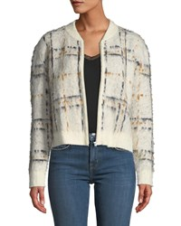 Current Elliott The Bets Plaid Zip Front Sweater White