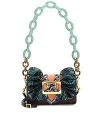 Burberry The Buckle Shield Embellished Snakeskin And Velvet Shoulder Bag Multicoloured