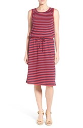 Petite Women's Caslon Sleeveless Cotton Blend Knit Drawstring Waist Dress