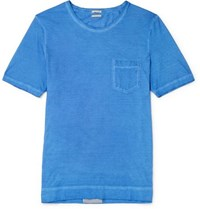 Massimo Alba Panarea Garment Dyed Cotton Jersey T Shirt Blue