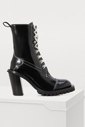 Acne Studios Patent Leather Lace Up Ankle Boots Black