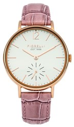 Fiorelli Ladies Pink Croc Leather Strap Watch Pink
