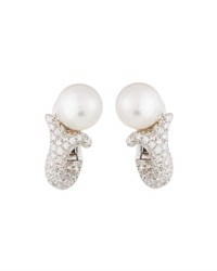 Mikimoto 18K South Sea Pearl And Diamond Statement Earrings White